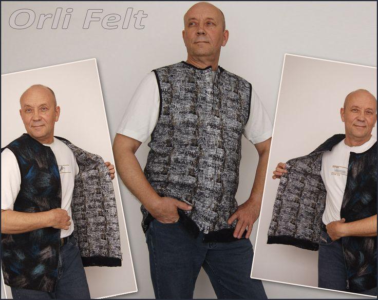 Модель-заказчик, кажется, доволен. :-))) Мокрое валяние. Двухсторонний мужской жилет. Нуно. Ручная работа.   The customer seems pleased. :-))) Nuno felting. Double-sided men's vest. Handmade.