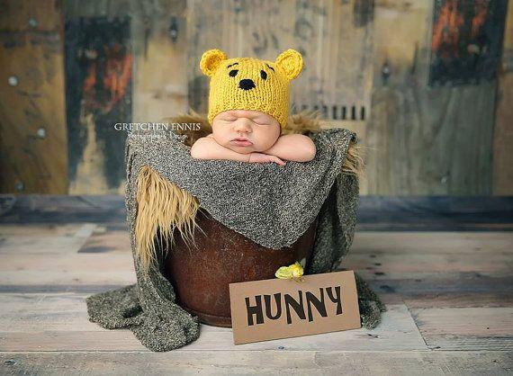 Pasgeboren gebreide muts van Winnie de Poeh van tinab76 op Etsy
