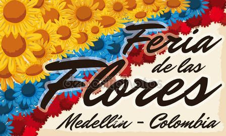 Floral Arrangement like Colombian flag over Scroll for Flowers Festival