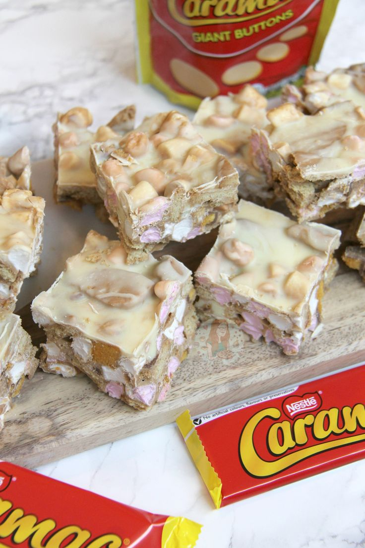 A Delightful Caramac Rocky Road with Marshmallows, Digestives, Cadbury's Crunchies.. YUMMMMM. So yeah, Caramac is the best. It probably isn't actually, but I love it SO much. I am 24, so I never had it when I was younger.. I've heard that it disappeared for years and only in the past few years really made a comeback. I adore the new version of it, but apparently the old one was even better and more delicious. Mainly because the recipe was probably different and contained ALL the additives…