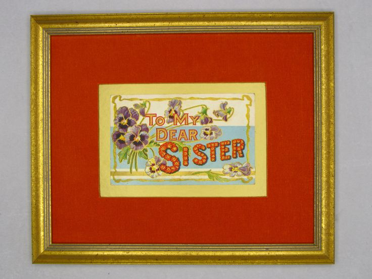 "Antique matted ""To My Dear Sister"" greeting postcard.  Wall Art Decor.  Perfect gift for your sister. Standard size. Eco-friendly. by PopArtPaperAmericana on Etsy"
