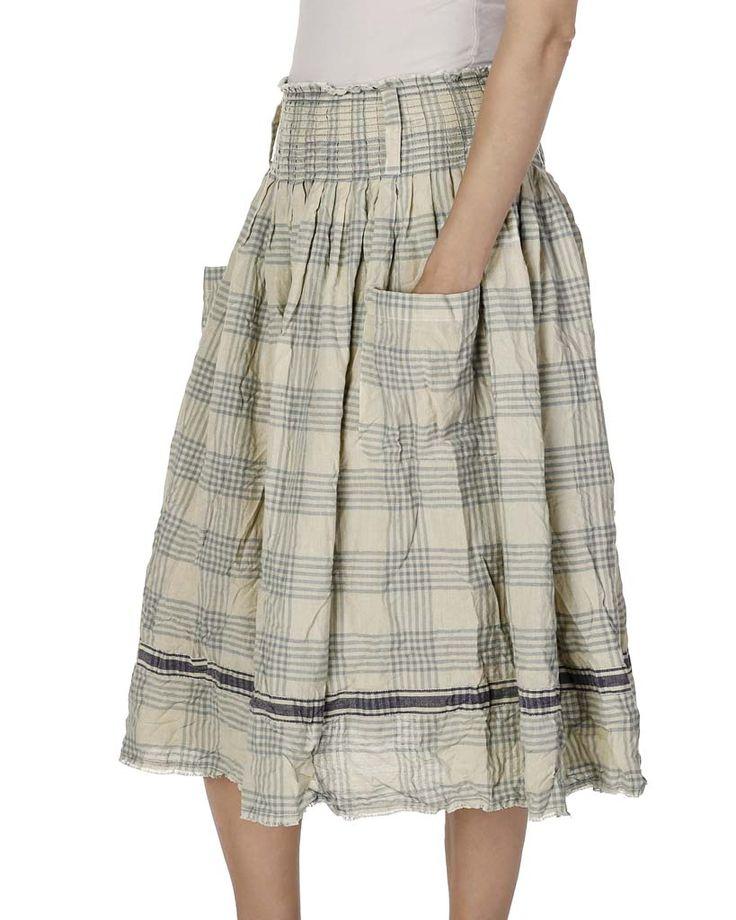 """Rutig kjol med knappar i midjan.Material: 50% bomull, 50% linTvättråd: Tvättas i 40 grader med liknande färgercreateColors(""""ss17"""");showSkiss(""""22844 SS17"""");"""