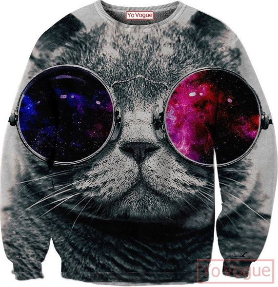 3D Cat Galaxy Sunglasses jumper all over printing by
