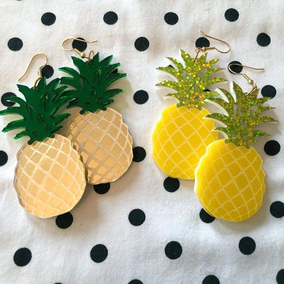 Pineapple Laser Cut Acrylic Earrings by imyourpresent on Etsy