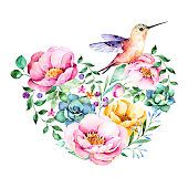 Watercolor heart with roses,flower,foliage,succulent plant