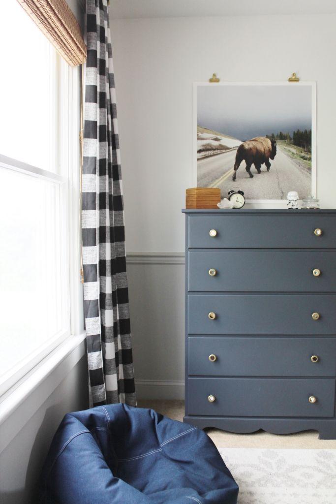 Rustic Boys Tween Room Makeover-Buffalo Print