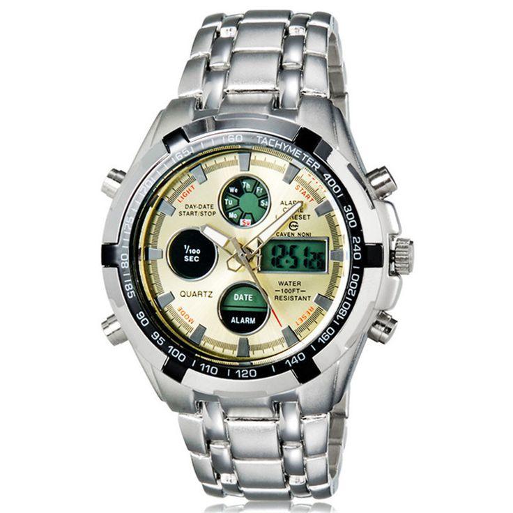 Спортивные часы парни весь стали часы на открытом воздухе армия армия часы Relogio Masculino 2016 кварц из светодиодов цифровые часы наручные часы