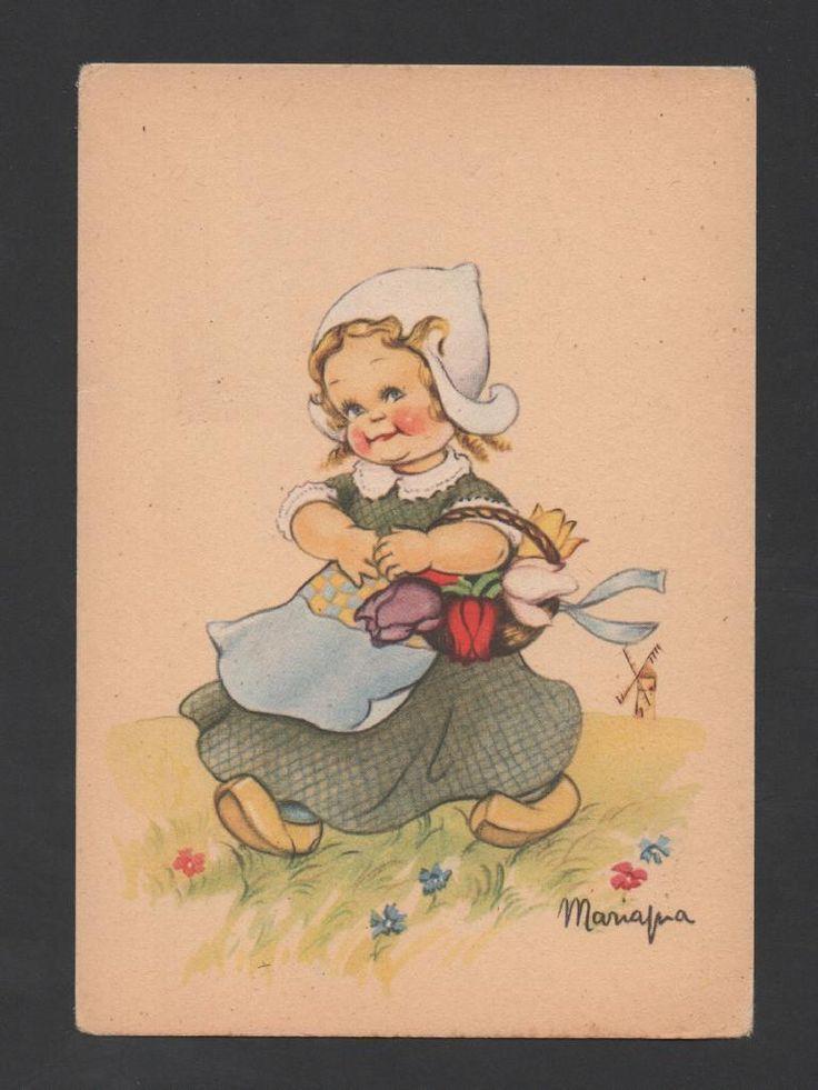 Art Postcard 1950s Lovely Girl from Holland The Netherland Flowers Tulips Flower | eBay