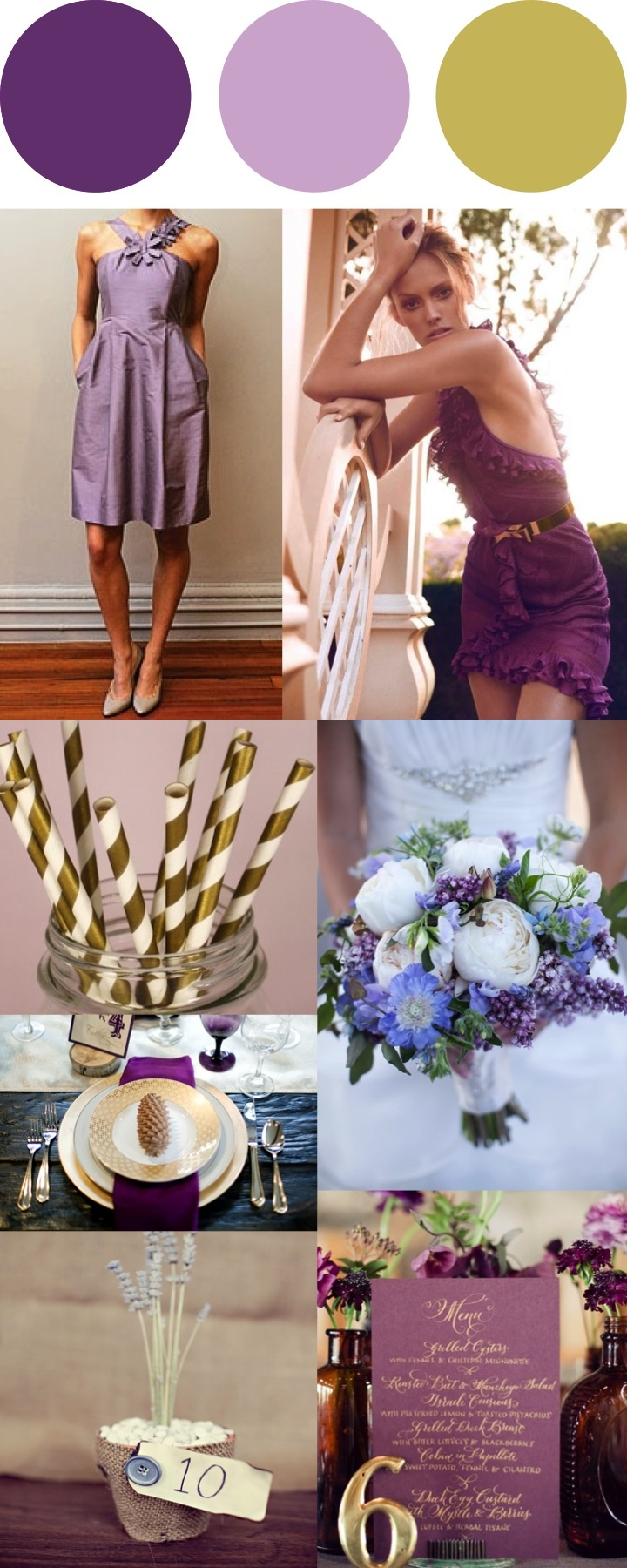 purple, gold, and lavender wedding inspiration board. a true gold instead  of