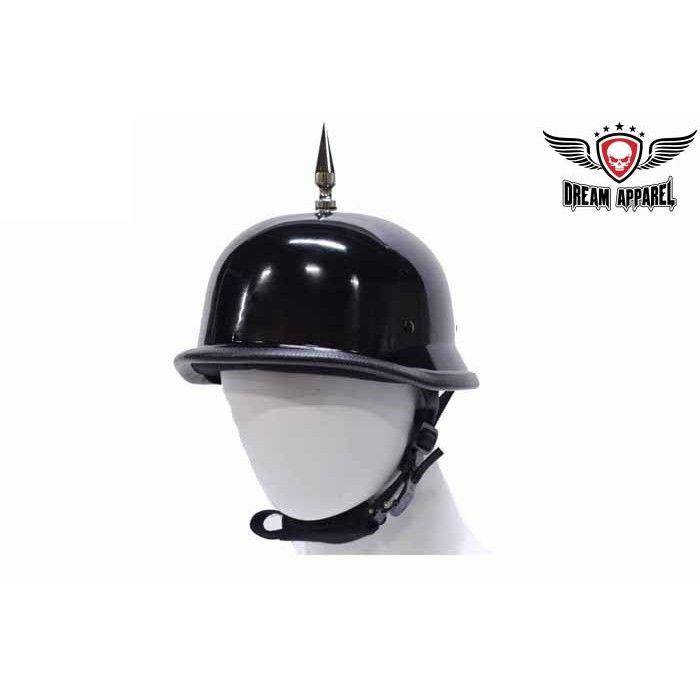 DOT German Skull Pile Shorty Motorcycle Half Helmet 103SP