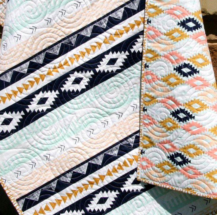 Arizona Tribal Aztec Quilt, Baby Girl Crib Bedding