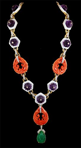 DAVID WEBB Carved Amethyst, White Enamel,Coral, Diamond & Carved Emerald Necklace - Yafa Jewelry