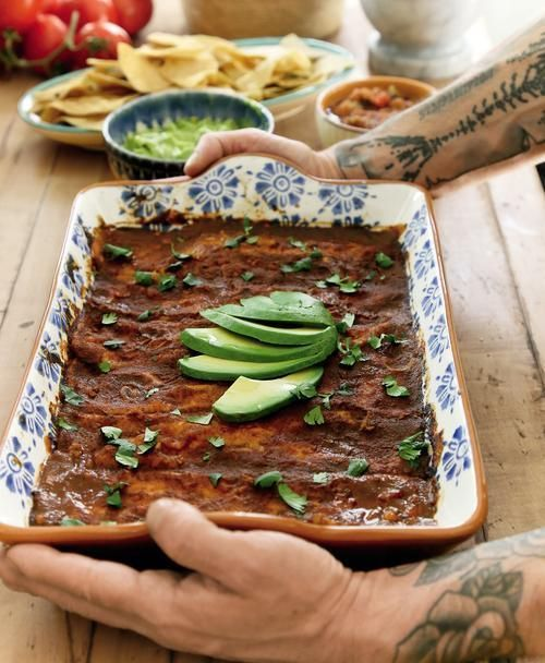 Sweet Potato, Squash, and Black Bean Enchiladas by Thug Kitchen