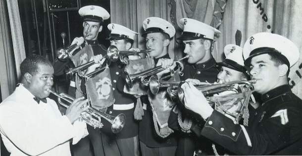 World War II Marine Corps Band bugled with Louie Armstrong. I would love to have heard this!!! #1940s #vintage #Marines