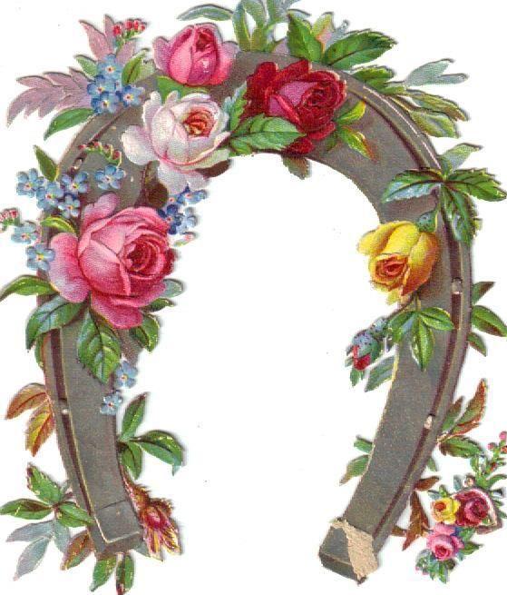 Victorian Die Cut Scrap Silver Dresden Horseshoe w Roses c1880