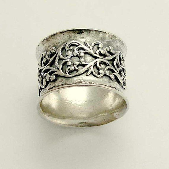 Wide Band oxidized sterling silver vand wedding by artisanimpact