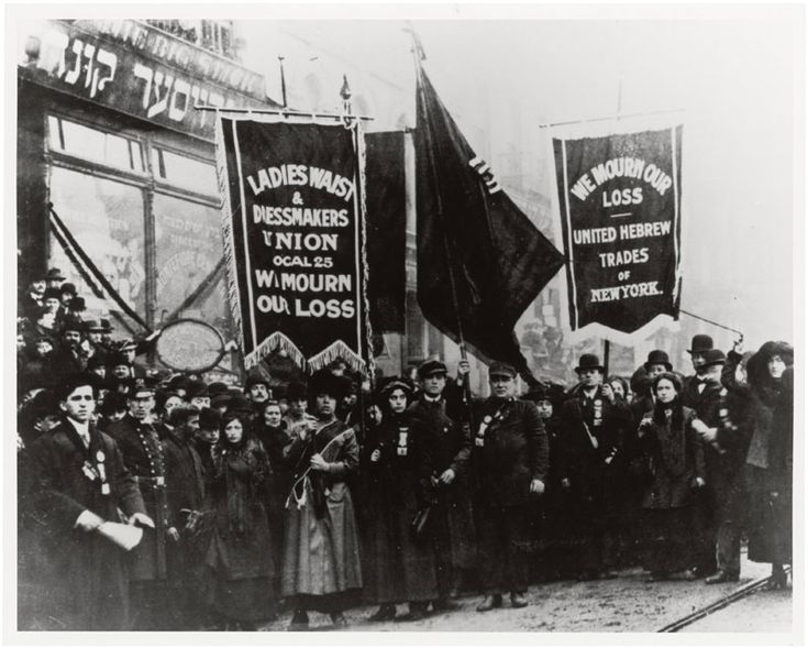 Demonstration of protest and mourning for Triangle Shirtwaist Factory fire of March 25, 1911, By an unknown photographer, New York City, New York, April 5, 1911; General Records of the Department of Labor; Record Group 174; National Archives. On March 25, 1911, fire swept through the Triangle Shirtwaist Factory in New York City, killing 146 employees, most of them women.This photo was part of the exhibit …