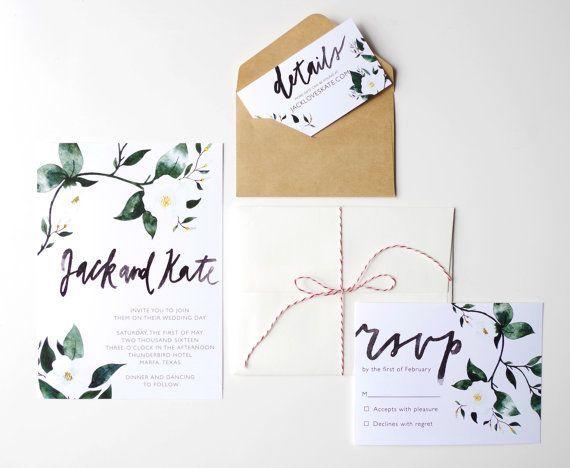 Printable Wedding Invitation Template, Floral Watercolor, Custom Calligraphy, DIY Modern Invitation, Brush Lettering