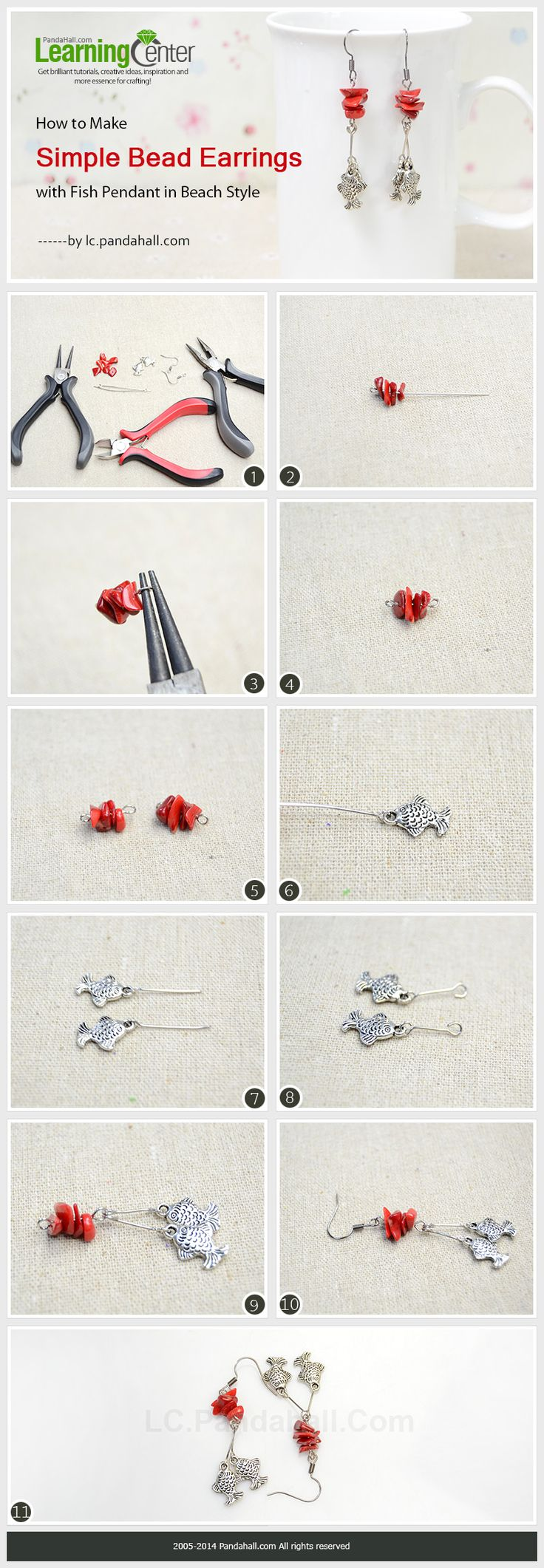 How to Make Simple Bead Earrings with Fish Pendant in Beach Style