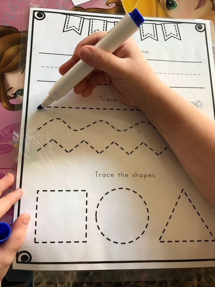 This is a prewriting sheet that I laminated for fine motor skills practice. My kids love to trace the lines and shapes and practice writing their names at the top. We use baby wipes to erase so they can use it as many times as they want! Click the picture to find out more info.