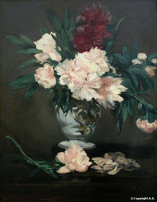 """""""Vase de pivoines"""" 1864 de Edouard Manet, musée d'Orsay"""