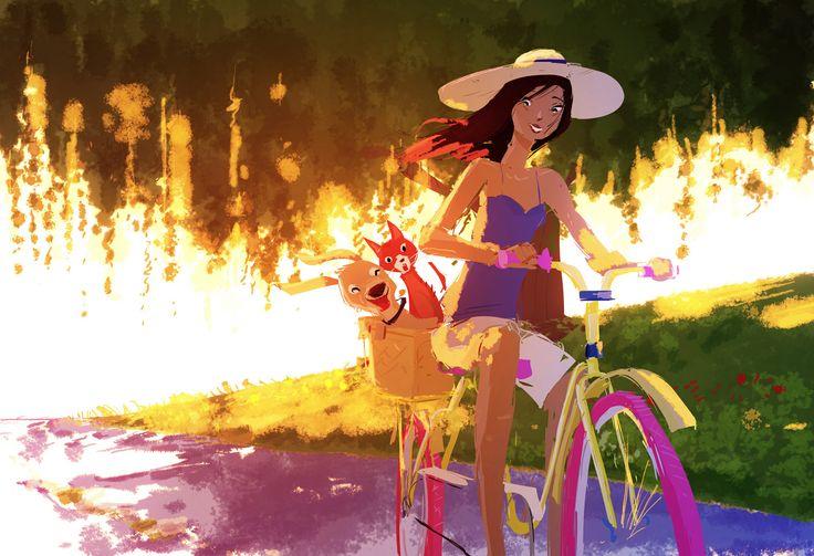 "Girl on Bike with her friends in the basket _ Ragazza in Bici con i suoi amici nel cestino - Illust: #PascalCampion,  ""Adelaide goes for a stroll"""