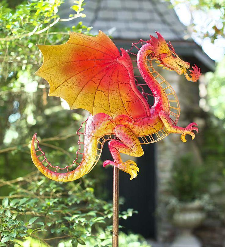 Wind U0026 Weather Red Dragon Metal (Grey) Wind Spinner For Gardens