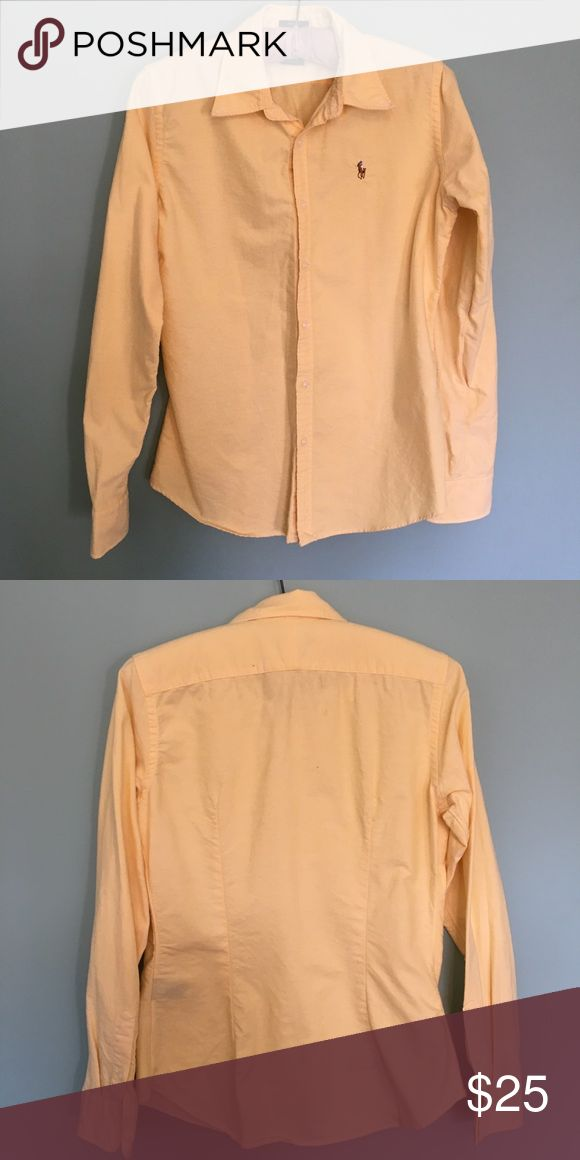 Ralph Lauren Yellow Polo Oxford Woman's Slim Fit Light Yellow Women's Slim Fit Oxford • Worn once • Size 6 Polo by Ralph Lauren Tops Button Down Shirts