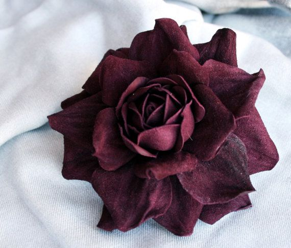 Violet Leather Rose Flower Brooch