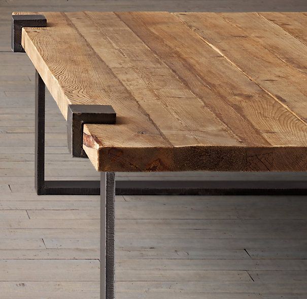 Reclaimed Pine and Steel Clamp Coffee Table. like how durable this is. can put feet up on it without worrying about messing up the finish.