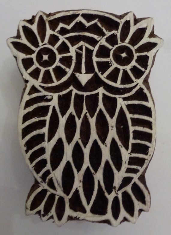Fair Trade 6cm Owl Design Carved Indian Wooden Printing Block Stamp