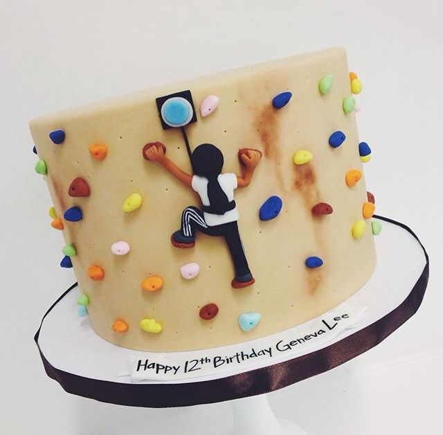 Rock climbing cake by Sweet & Saucy! Great for a Clip & Climb party!