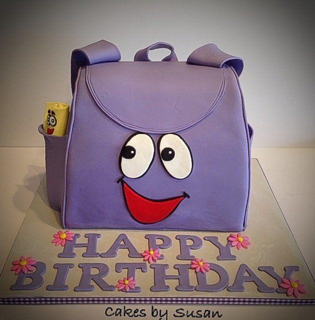 Dora's backpack and map. - by Skmaestas @ CakesDecor.com - cake decorating website