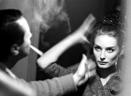 Tania Mallet being readied for the Yves Saint Laurent show Paris 1962. Jerry Schatzberg.