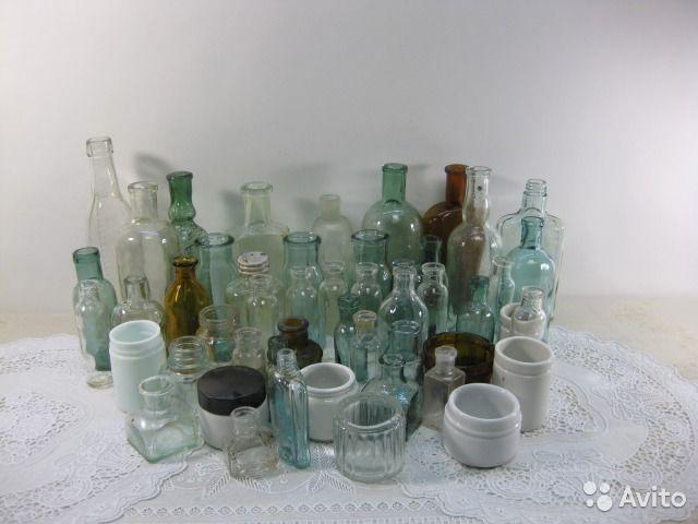 7265 Аптечные пузырьки, флаконы, банки, склянки