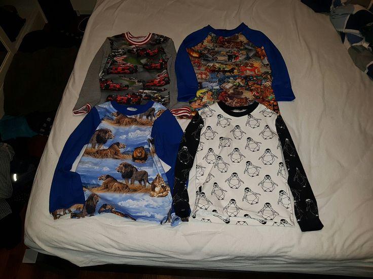 Langærmede t-shirts. Lidt forskellige mønstre