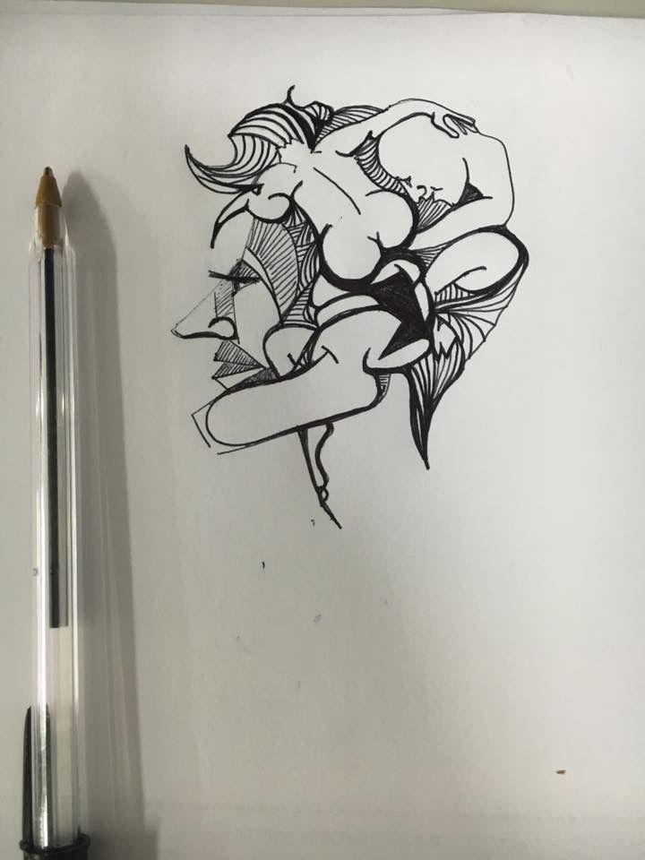 Intrecci, schizzo con penna
