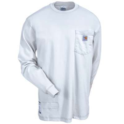 Carhartt Shirts: Men's Light Gray Flame-Resistant Long Sleeve Cotton Tee Shirt 101153 051