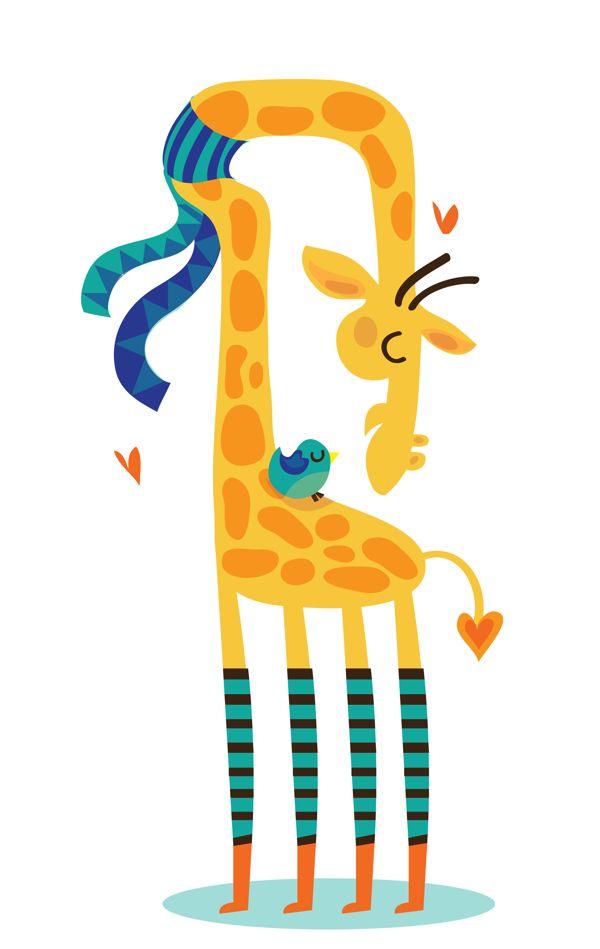 The bird and the giraffe Art Print by Maria Jose Da Luz