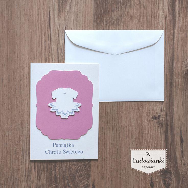 Modern baptism card. | Nowoczesna, subtelna kartka na chrzest by Cudowianki.