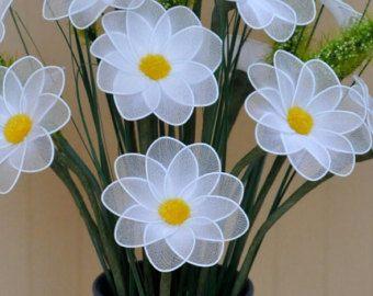 unique yellow nylon flowers vase handmade by DennysKraftKorner