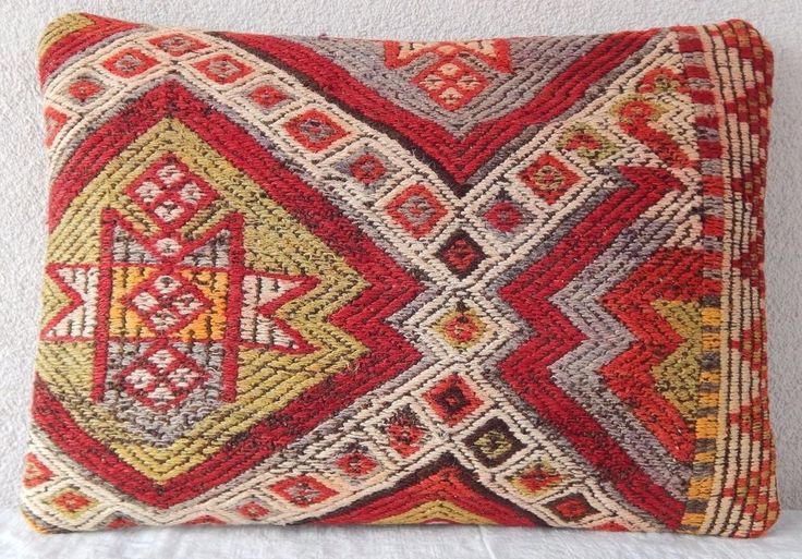 14x20'' Vintage Turkish Handmade Aztec Pattern Large Boho Kilim Rug Pillow Cover #Handmade #AntiqueStyle