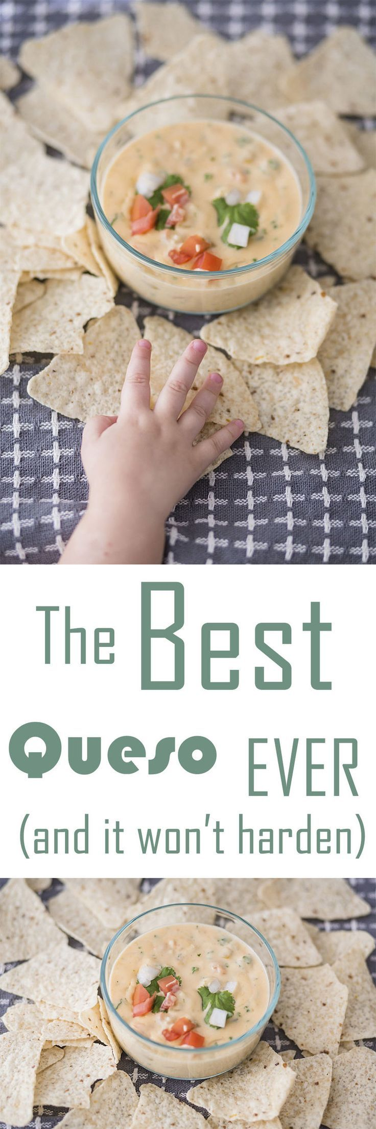 The BEST queso ever! This delicious cheese dip is made from more natural ingredients and won't turn into a hard goopy mess. This is definitely something you'll want at your next party. #queso #dips #partyfood #snacks