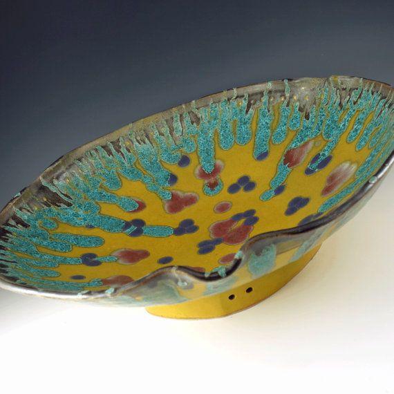 Pottery Centerpiece Bowl - Large Decorative Bowl - Ceramic Serving Bowl - Wall Art - Home Decor - Yellow Bowl - Pottery Bowl - 206 & 15 best Botanic2Ceramic Watercolor Bowls images on Pinterest ...