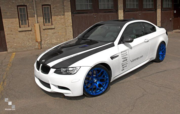 BMW E92 M3 White And Black On Blue Rims