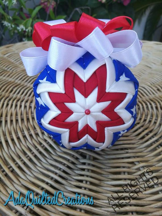 Patriotic keepsake ball ornament quilted ornament folded
