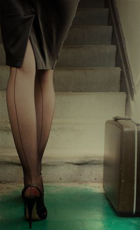 stockings with the seam up the back.