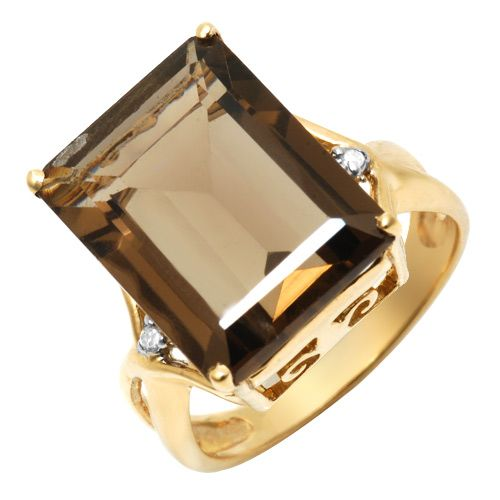 Terrific Brand New Ring With 15.40ctw Precious Stones - Genuine Diamonds and Topaz Beautifully Designed in Yellow Gold. Total item weight 5.5g - Size 7 We Can R November Birthstone Rings