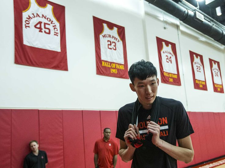 Houston Rockets center Zhou Qi walks off the practice court following practice at the Rockets mini-camp in preparation for the NBA Summer League 2017 at Toyota Center on Wednesday, July 5, 2017, in Houston.