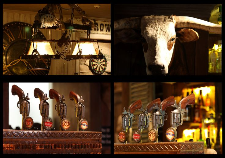 """COWBOYS BAR, Queenstown, South-Island, New Zealand, """"Gun Control"""", (Requires concentration and a steady hand), creative interior styling by Ton van der Veer"""